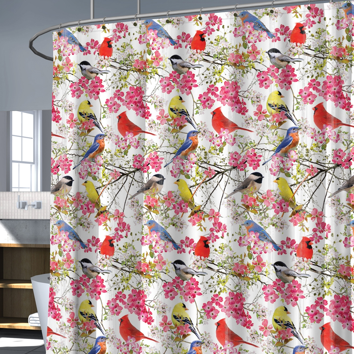 Colorful Songbird Shower Curtain