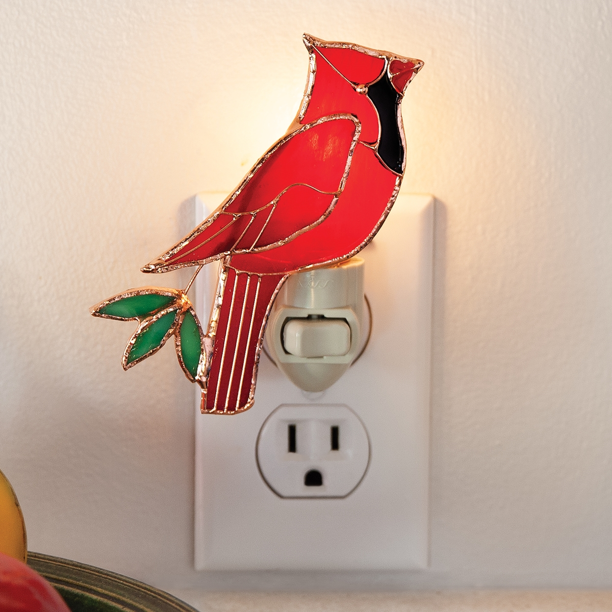Cardinal Stained Glass Nightlight