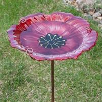 Poppy Flower Stake Birdbath