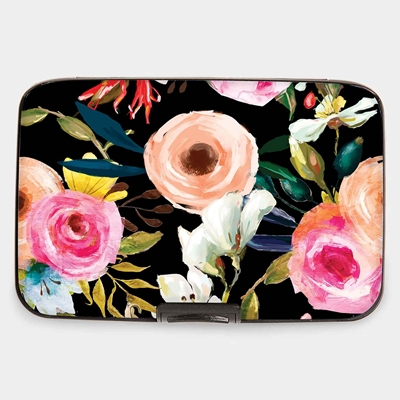 Florals on Black Armored Wallet