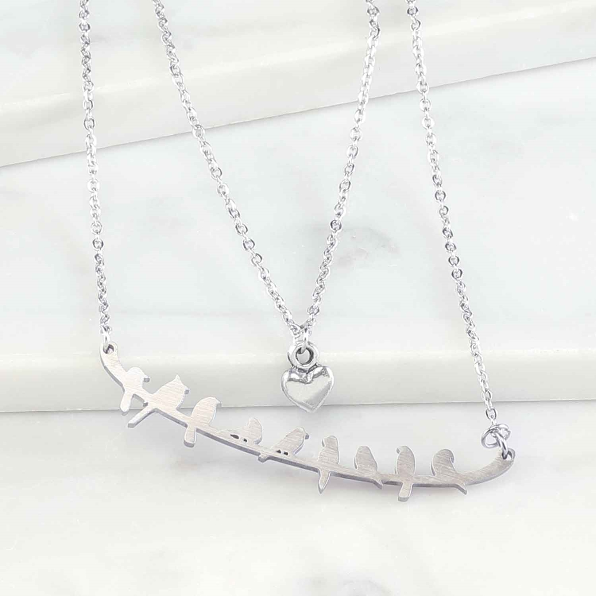 Birds and Heart Necklace Set