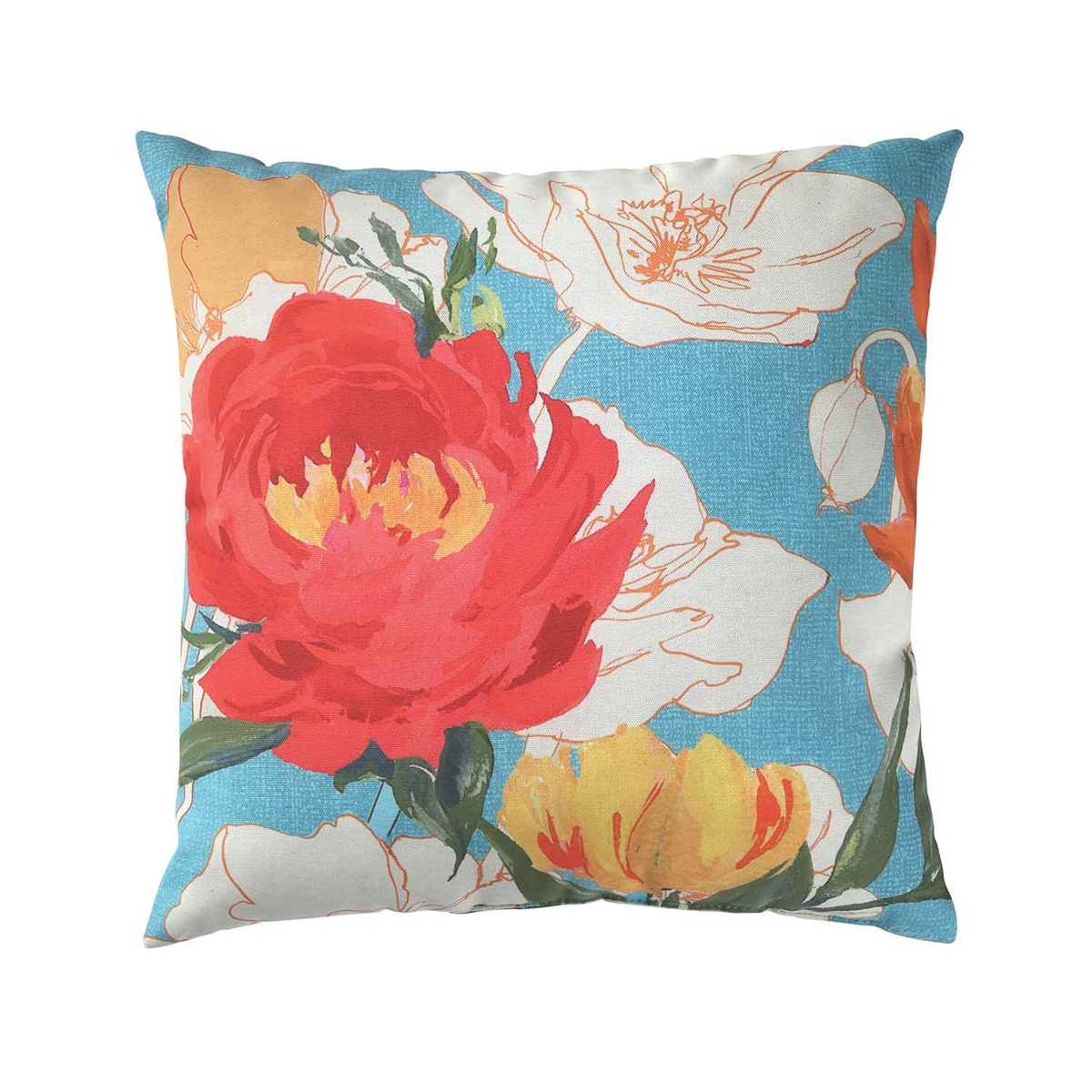 Peony and Poppies Pillow