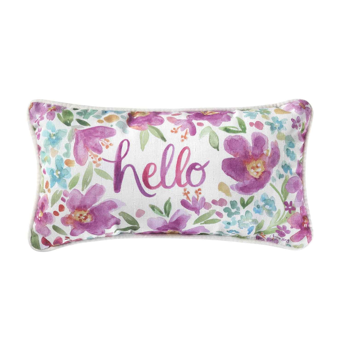 Floral Hello Pillow