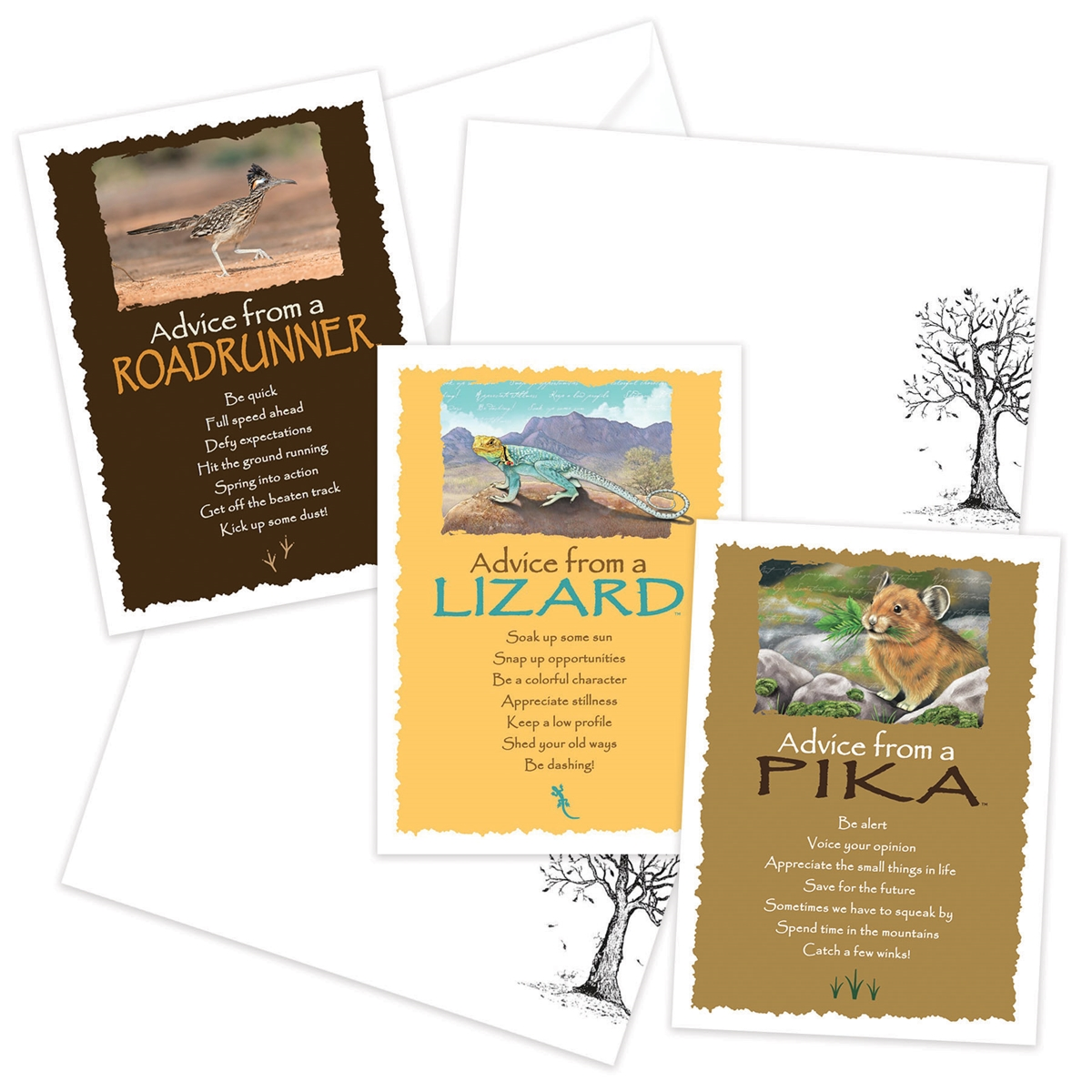 Advice from the Lizard, Pika and Roadrunner Greeting Cards