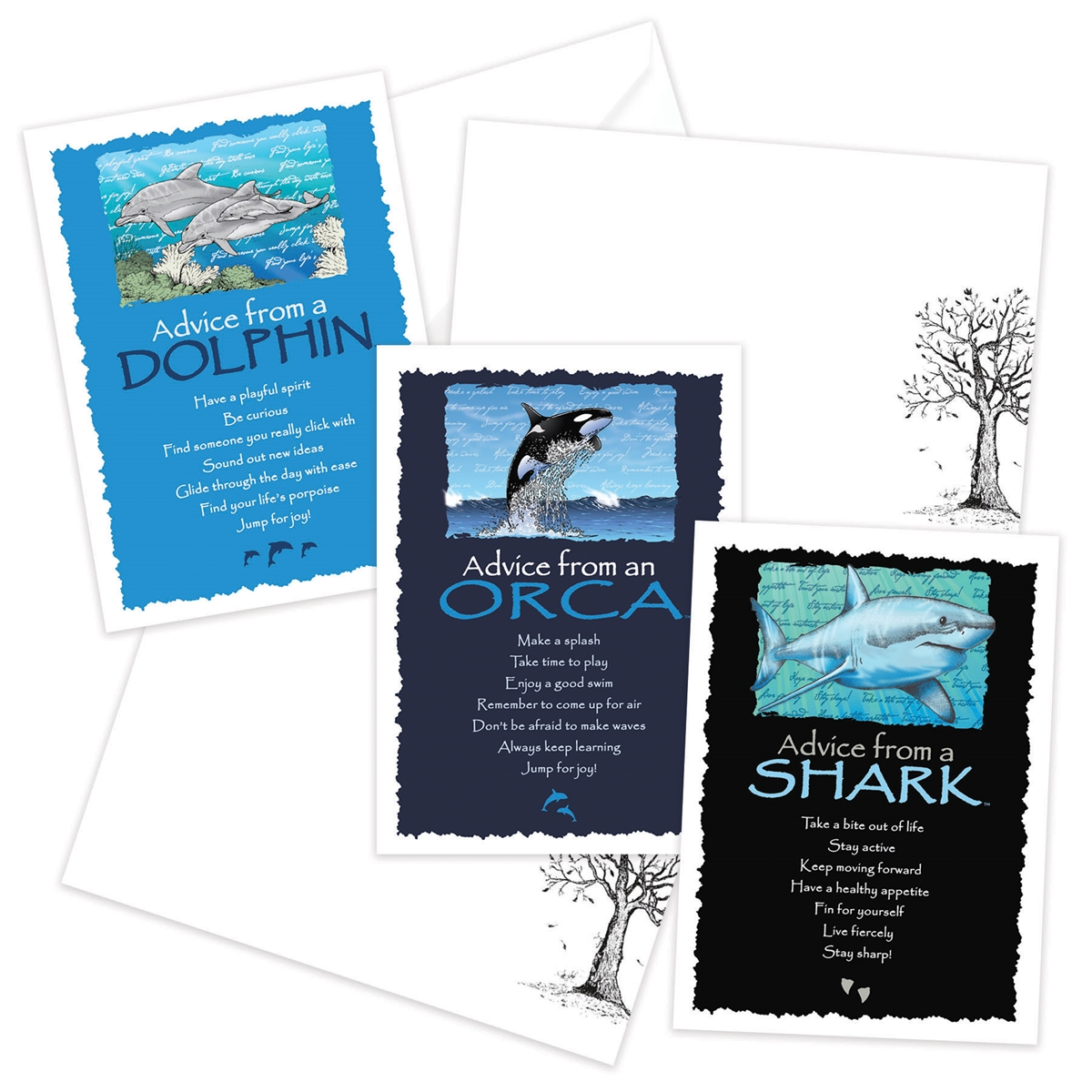 Advice from the Dolphin, Orca and Shark Greeting Cards