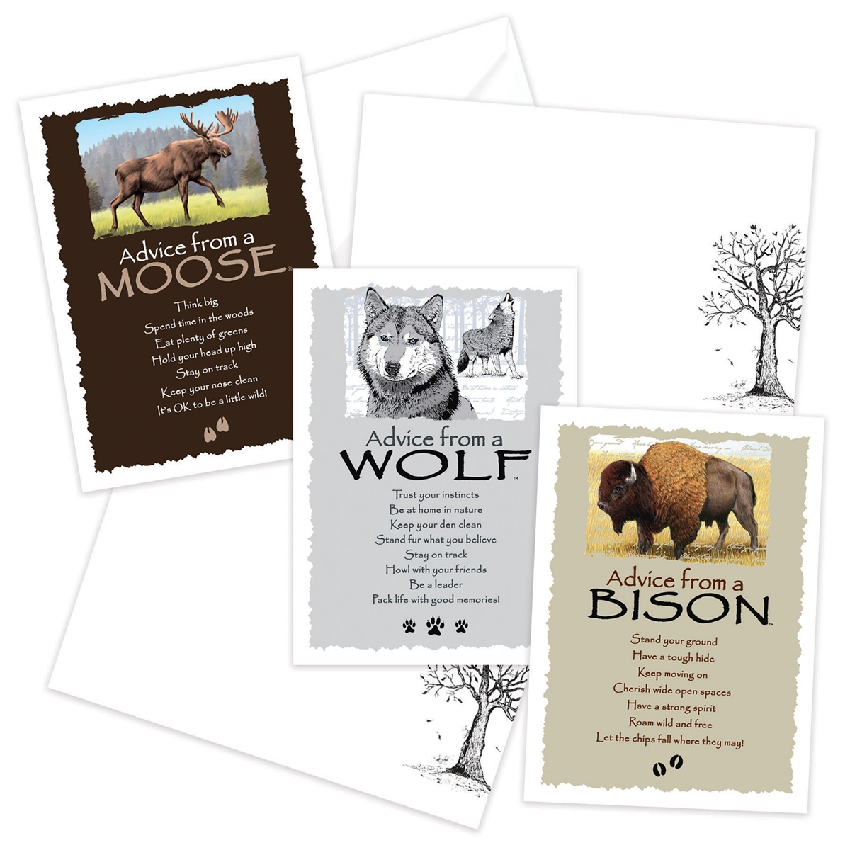 Advice from the Bison, Moose and Wolf Greeting Cards