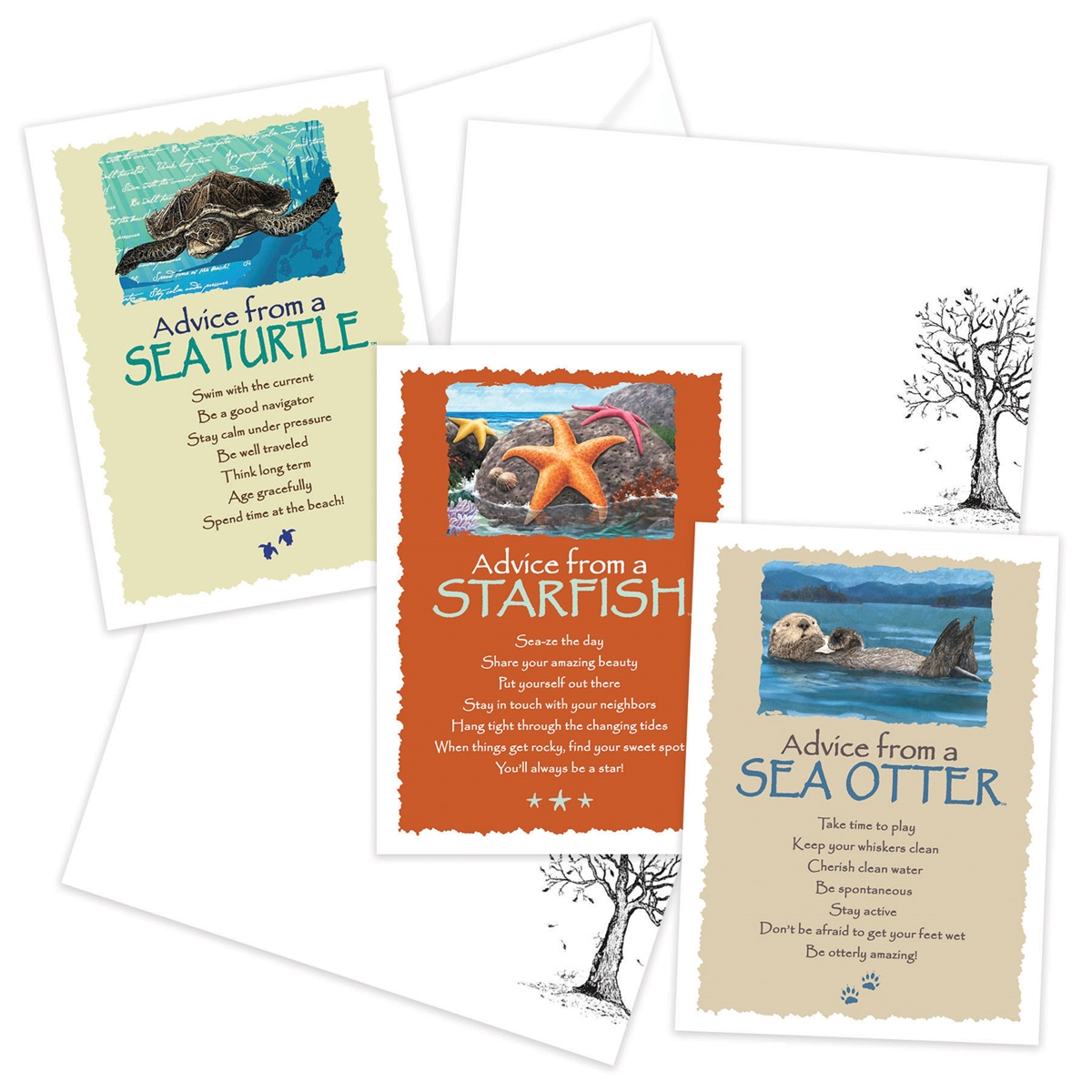 Advice from the Sea Otter, Sea Turtle and Starfish Greeting Cards