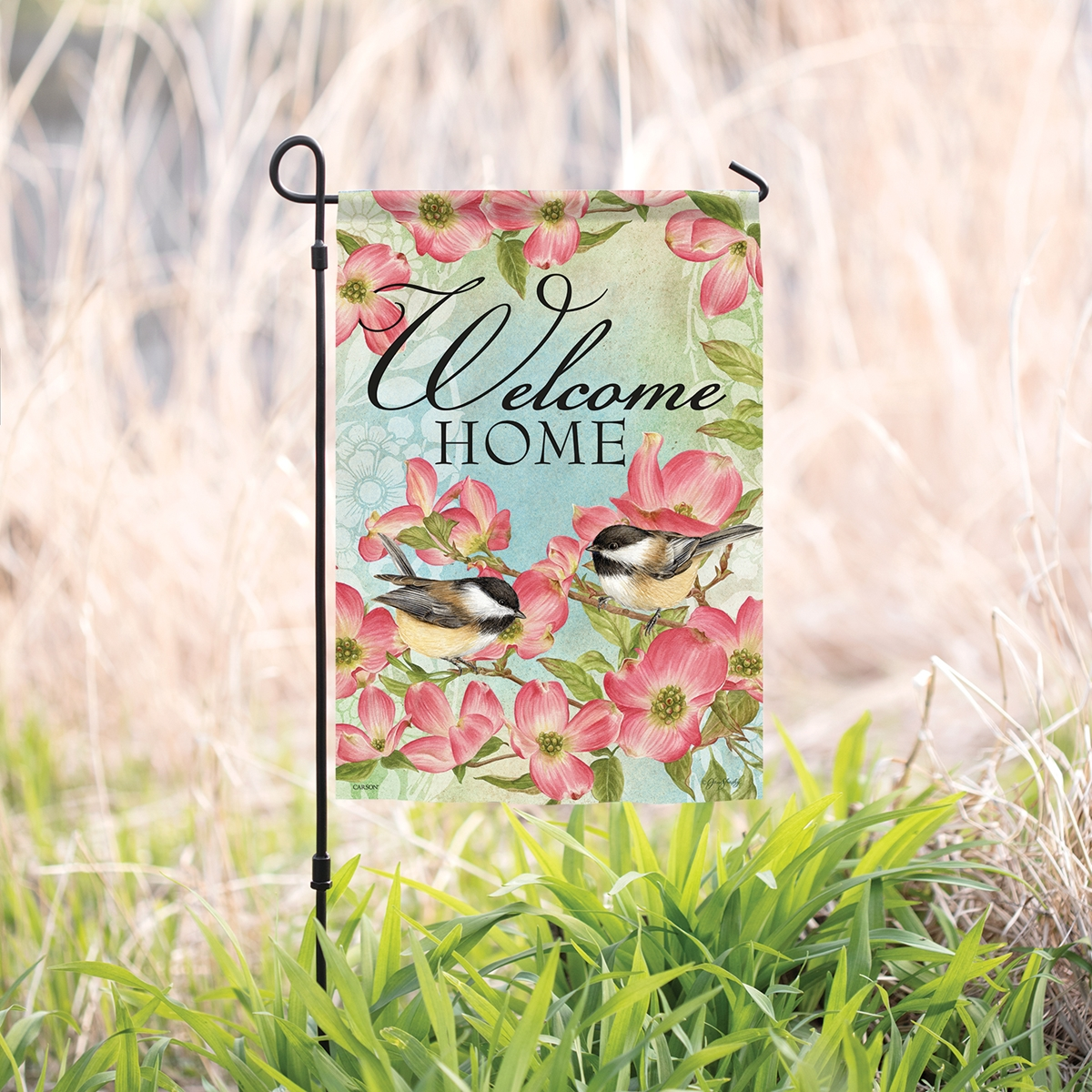 Dogwood and Chickadee Garden Flag