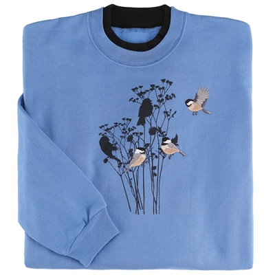 Chickadees and Flowers Pullover
