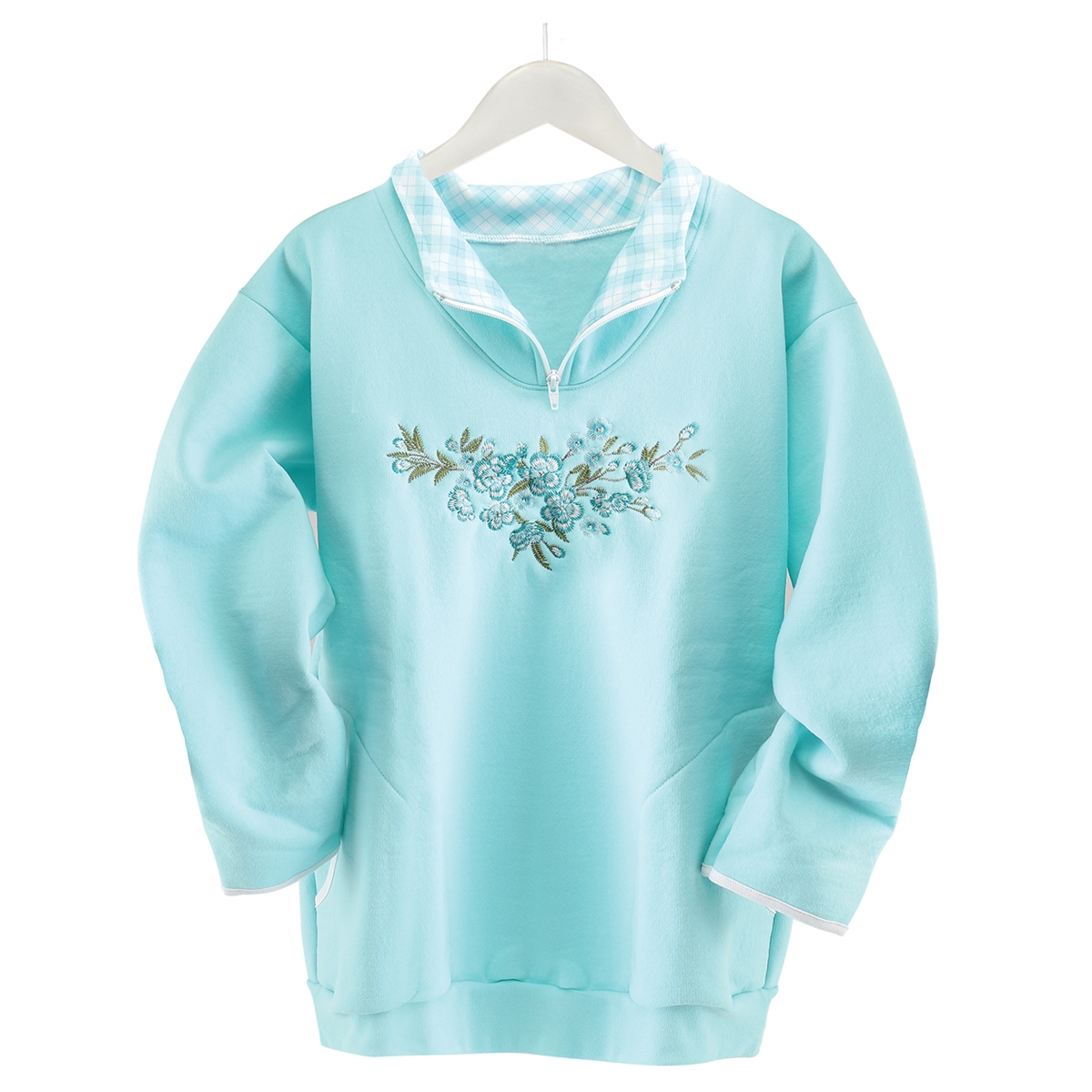 Floral Scoop Zip Pullover