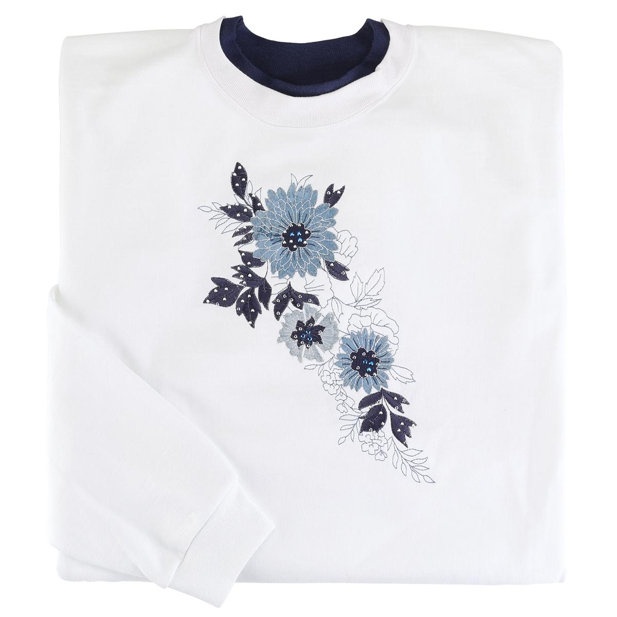 Blue Floral Cascade Pullover