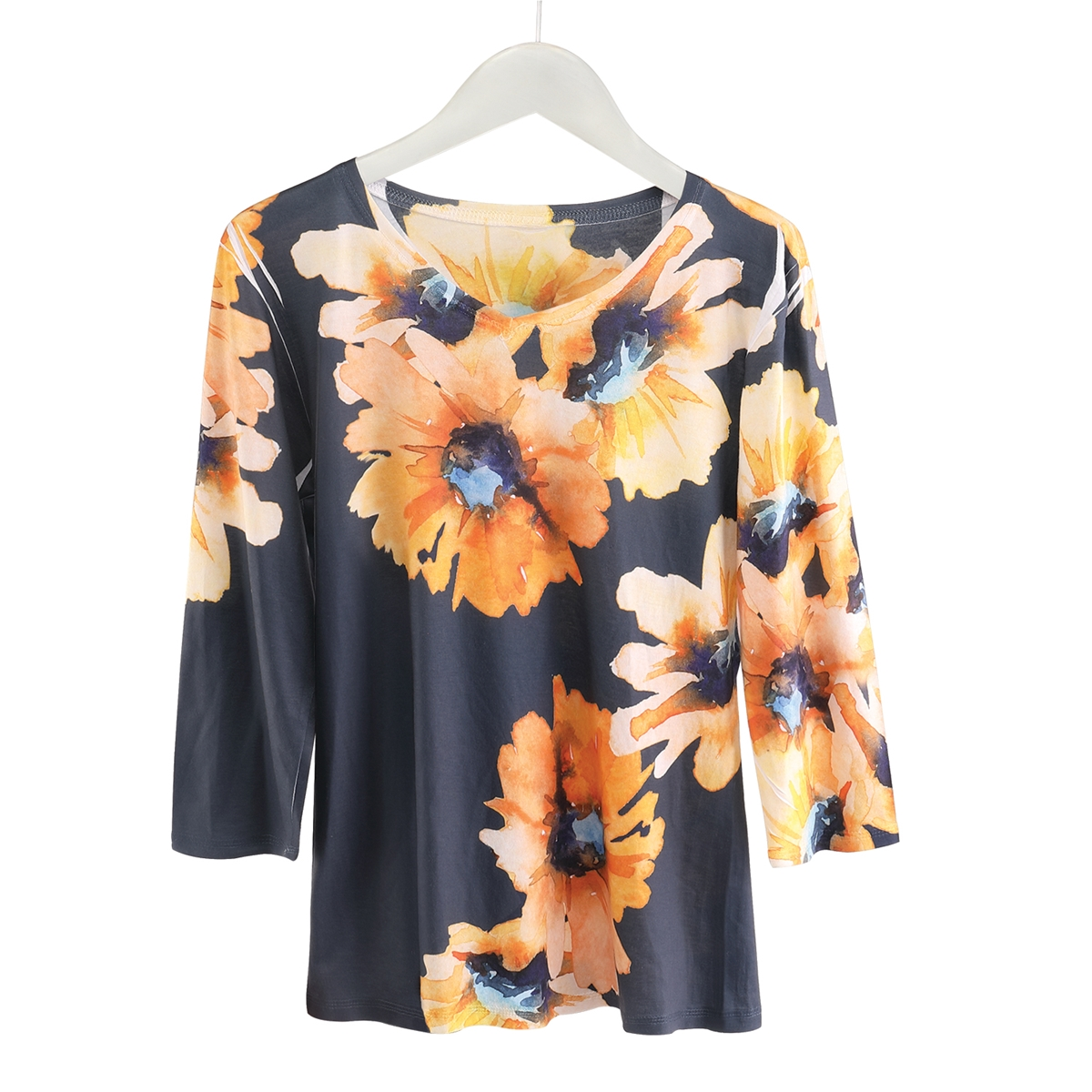 Floral Sublimated 3/4 Sleeve Tee