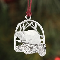 Beaver Plant a Tree Ornament