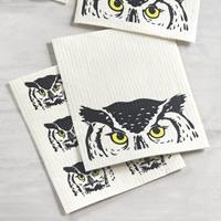 Peeking Owl Swedish Dish Cloth Set