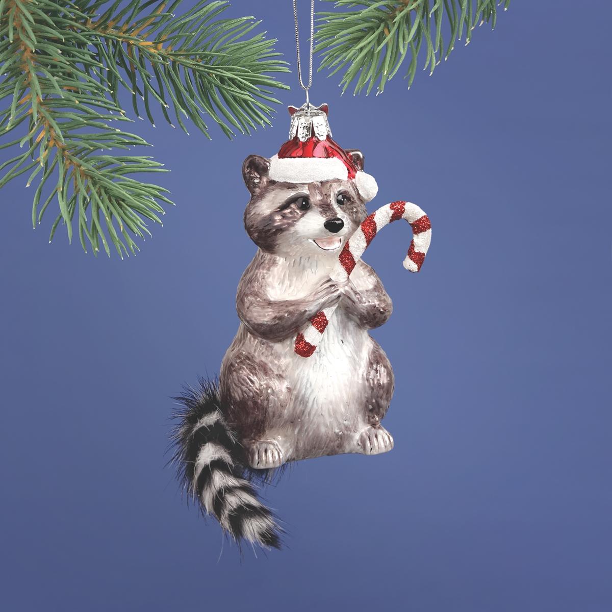 Raccoon Glass Ornament