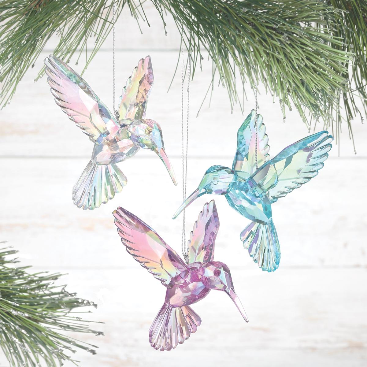 Iridescent Hummingbird Ornaments