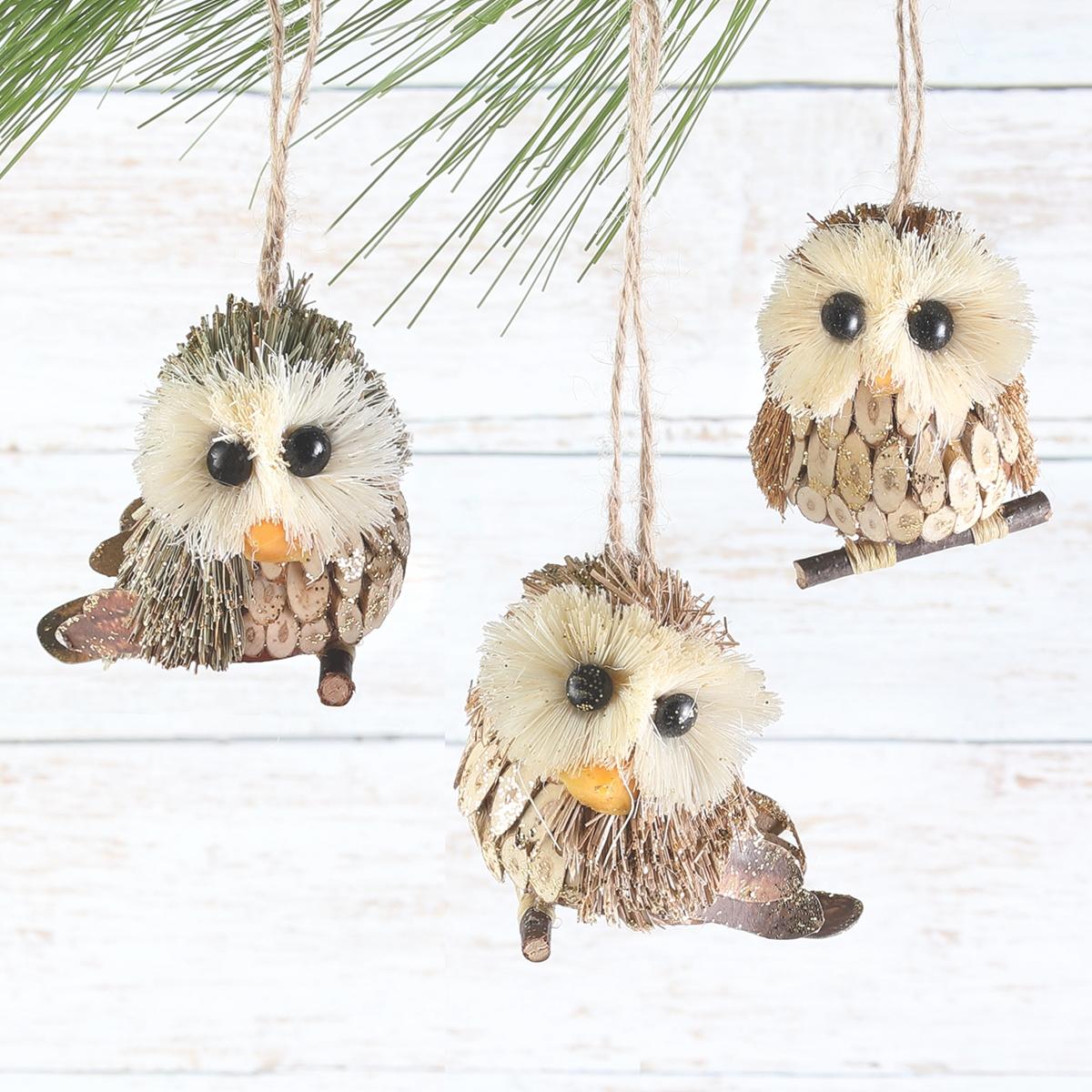 Sisal Owl Ornament Set