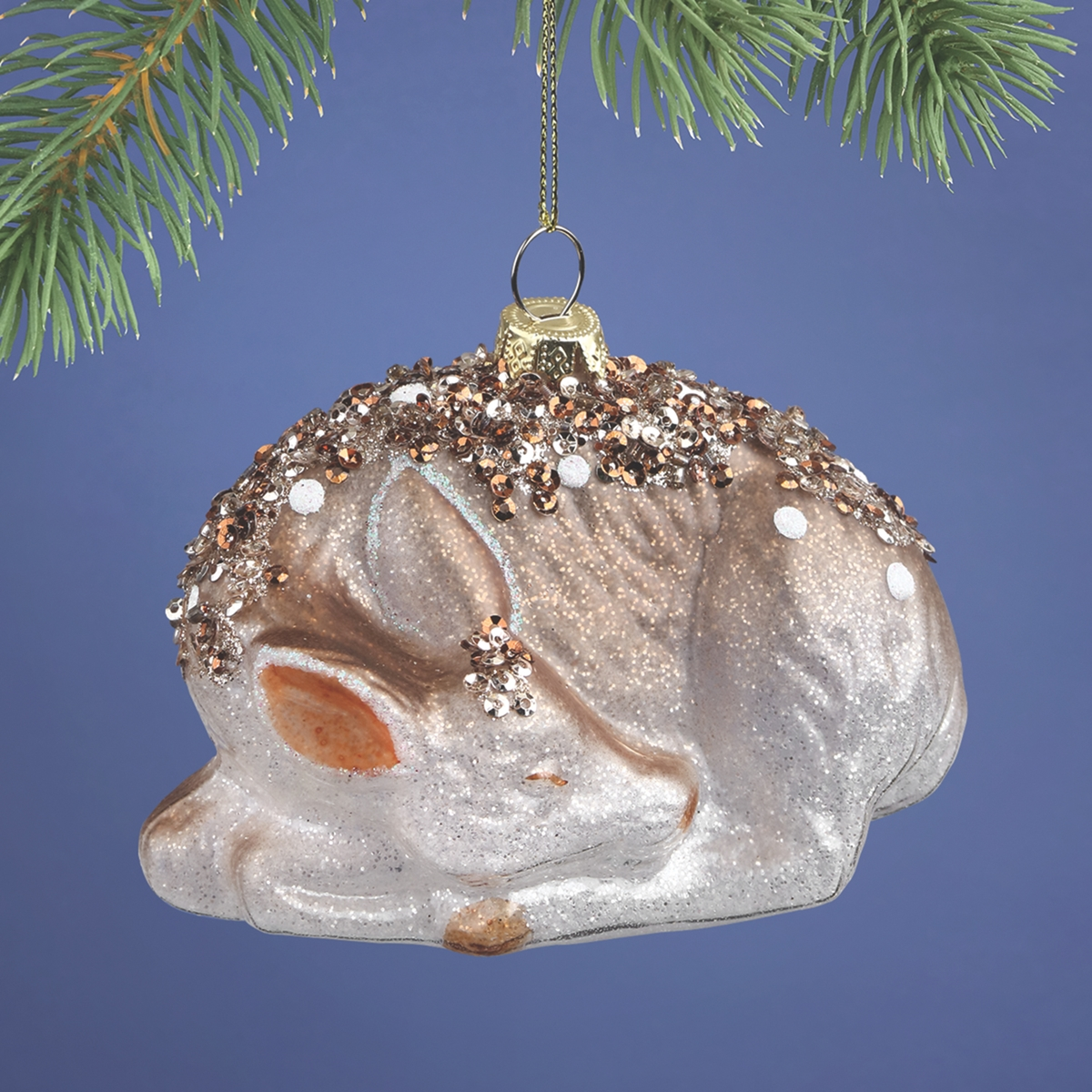 Sleeping Deer Glass Ornament
