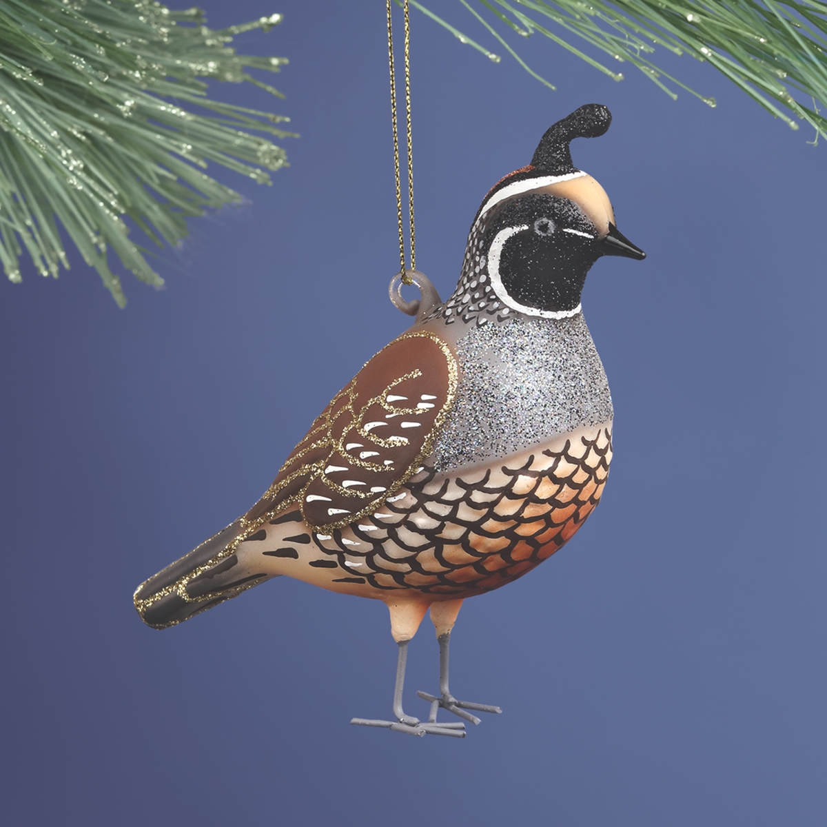 California Quail Glass Ornament