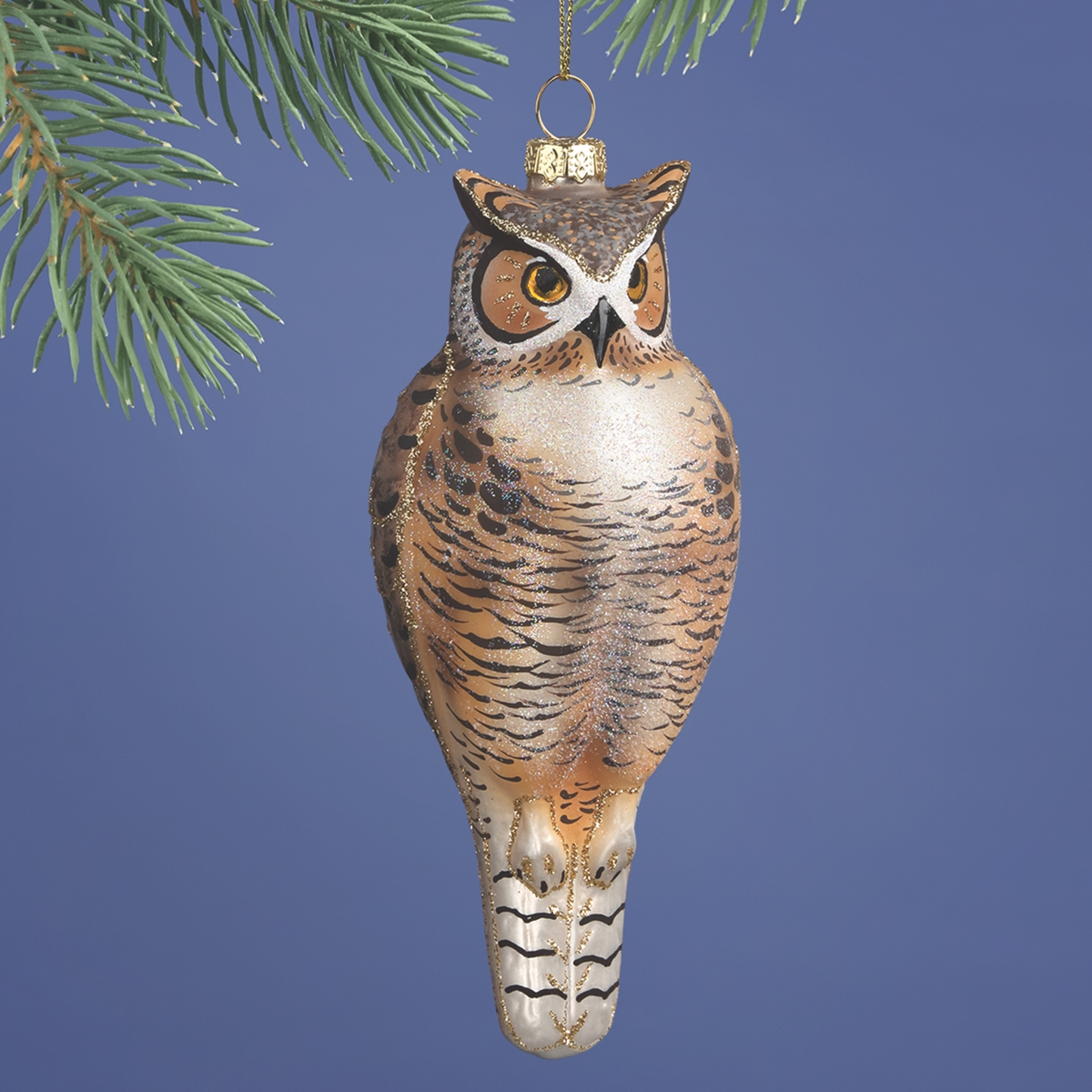 Great Horned Owl Glass Ornament