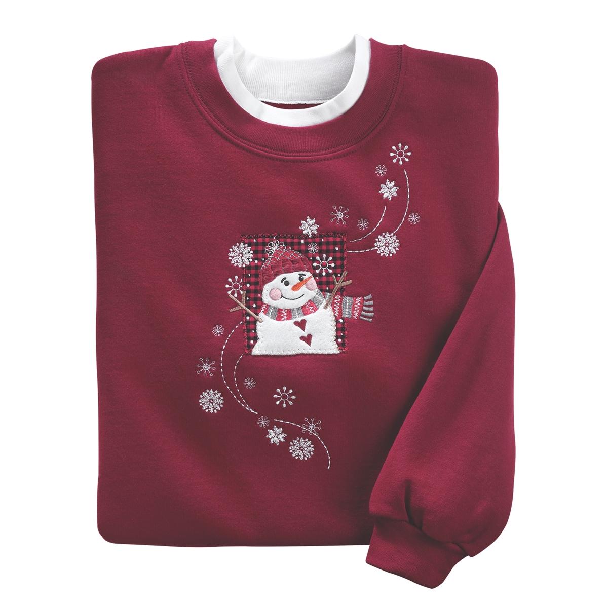 Checkered Snowman Pullover