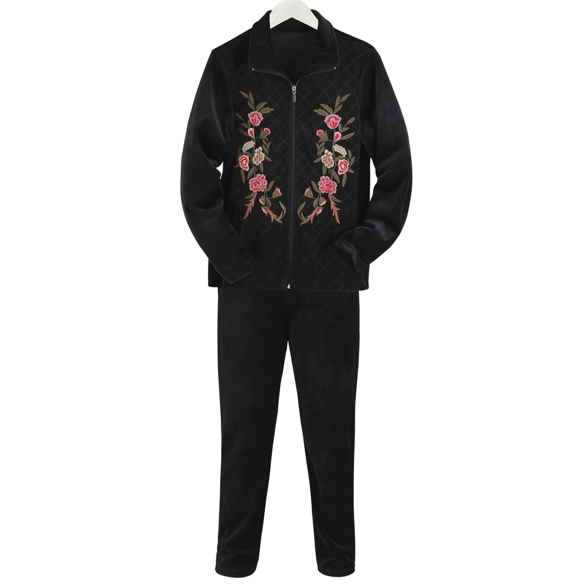 Floral Quilted Velour Pant Set