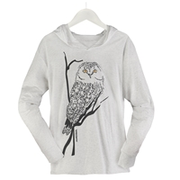 Owl With Yellow Eyes Hooded Tee