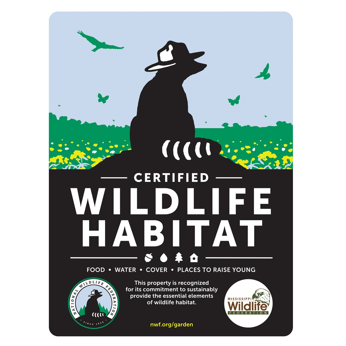 Mississippi Wildlife Federation Certified Wildlife Habitat Sign