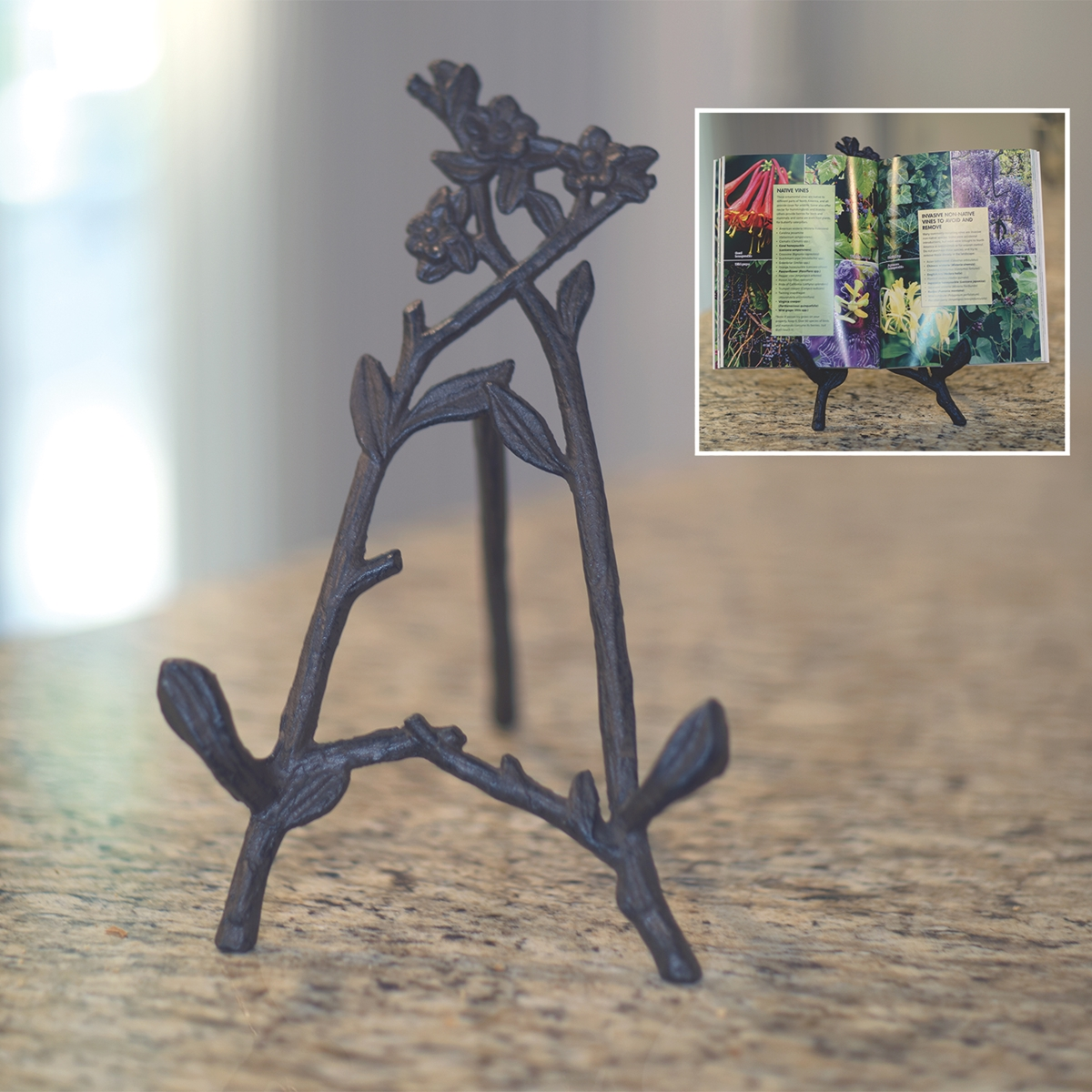 Cast Iron Floral Book Stand