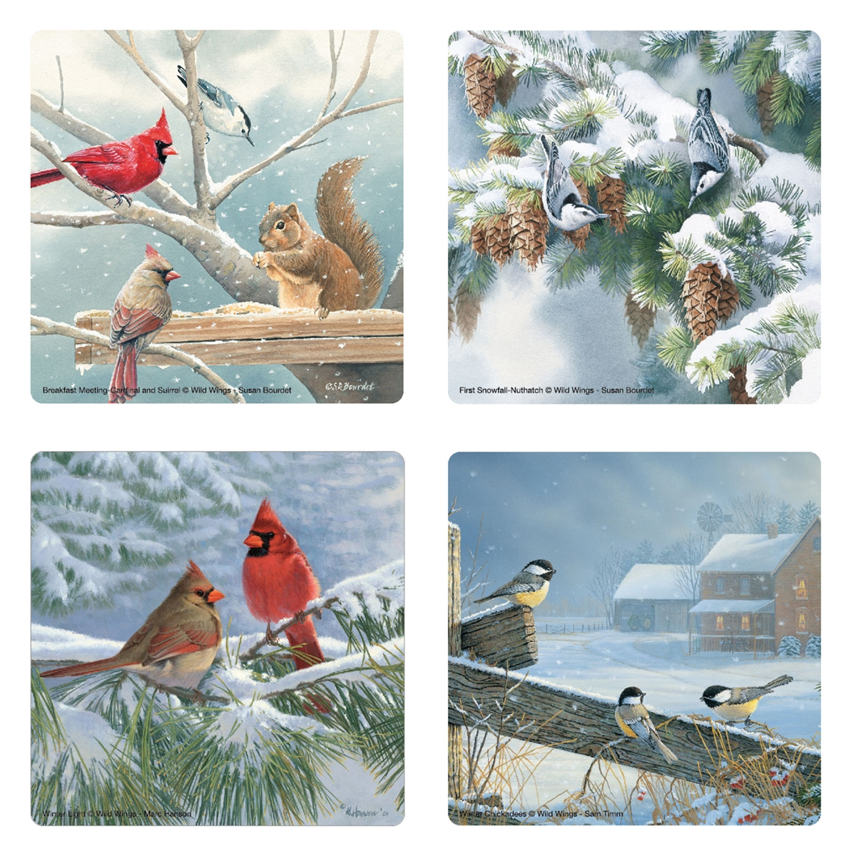 Winter Birds Glass Coaster Set