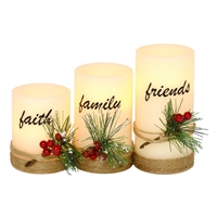 Faith, Family, Friends LED Candles