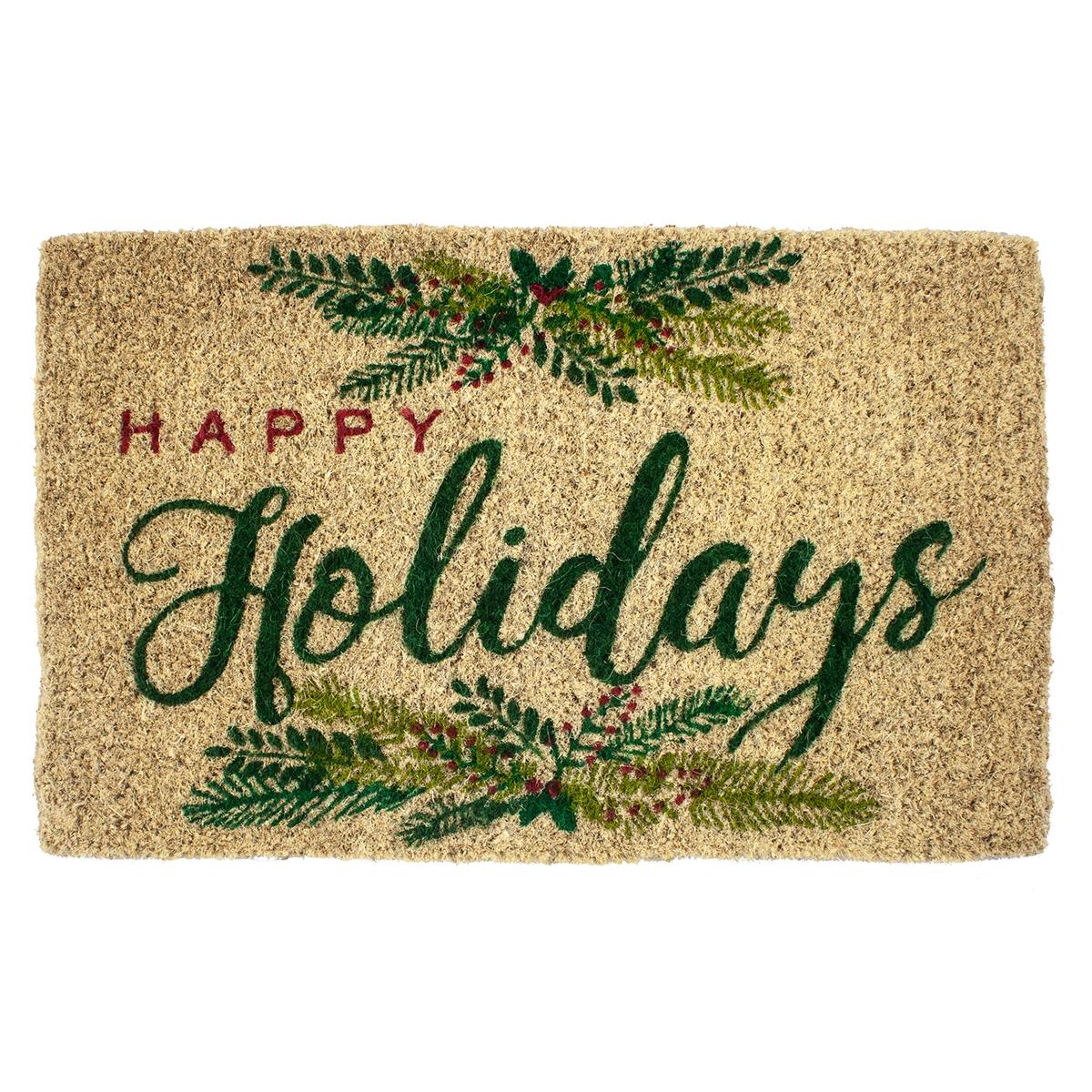 Happy Holidays Coir Mat