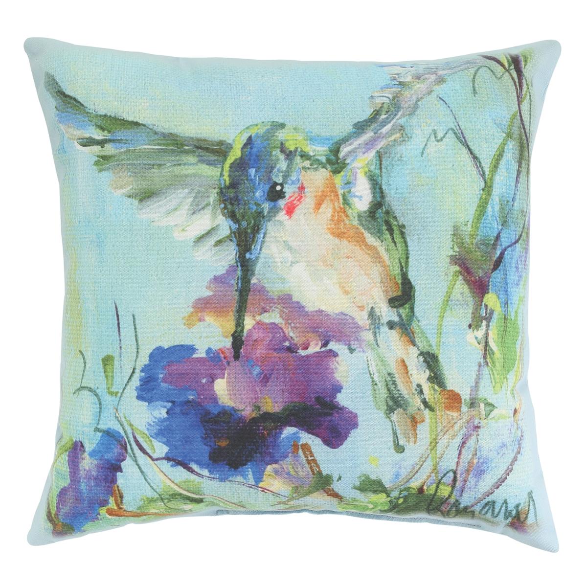 Hummingbird Purple Flower Pillow