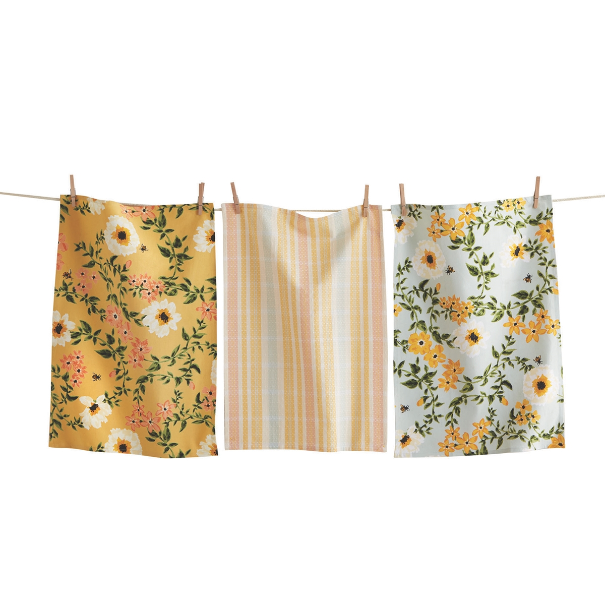 Bee Floral Dish Towel Set
