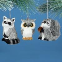 Owl, Raccoon, Squirrel Plush Ornament Set
