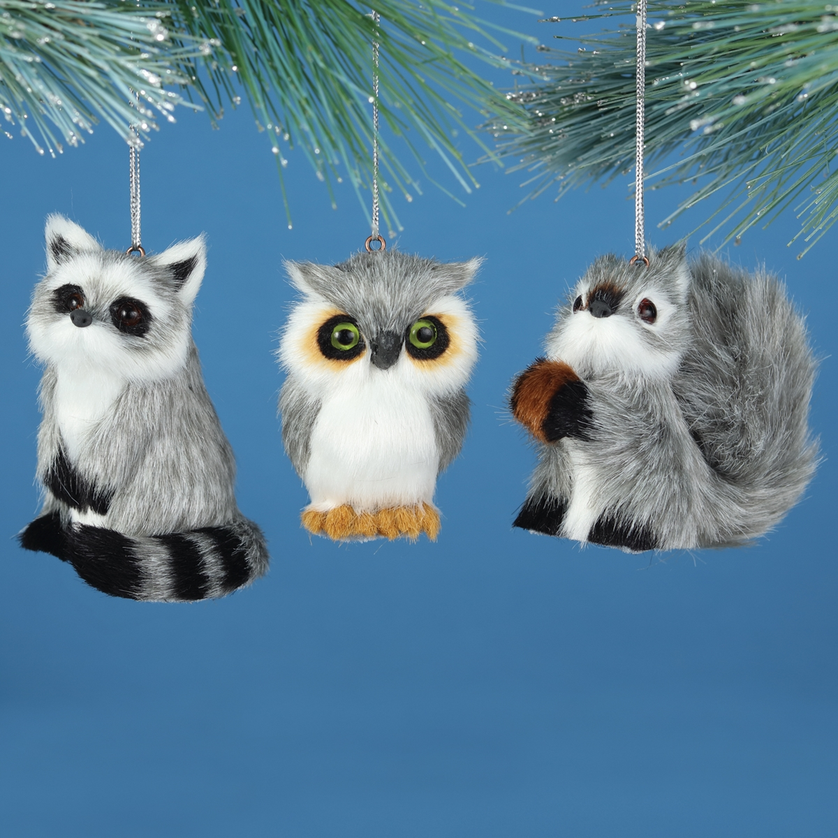 Owl, Raccoon, Squirrel Plush Ornament Set