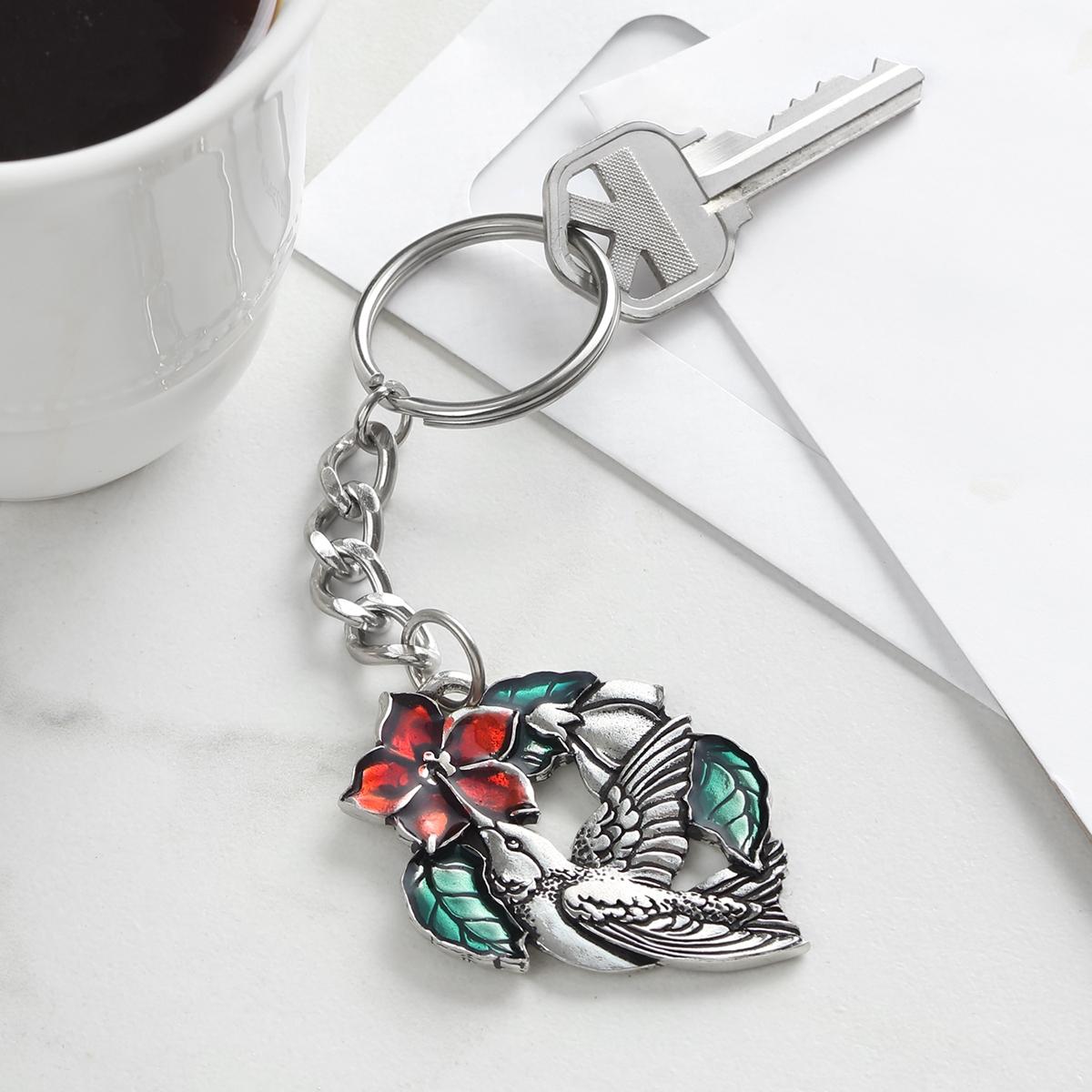 Hummingbird Pewter Keychain