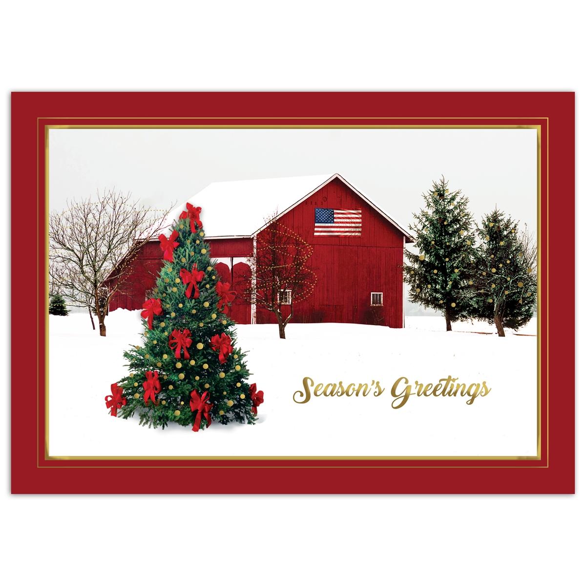 Serene Winter Barn Holiday Cards