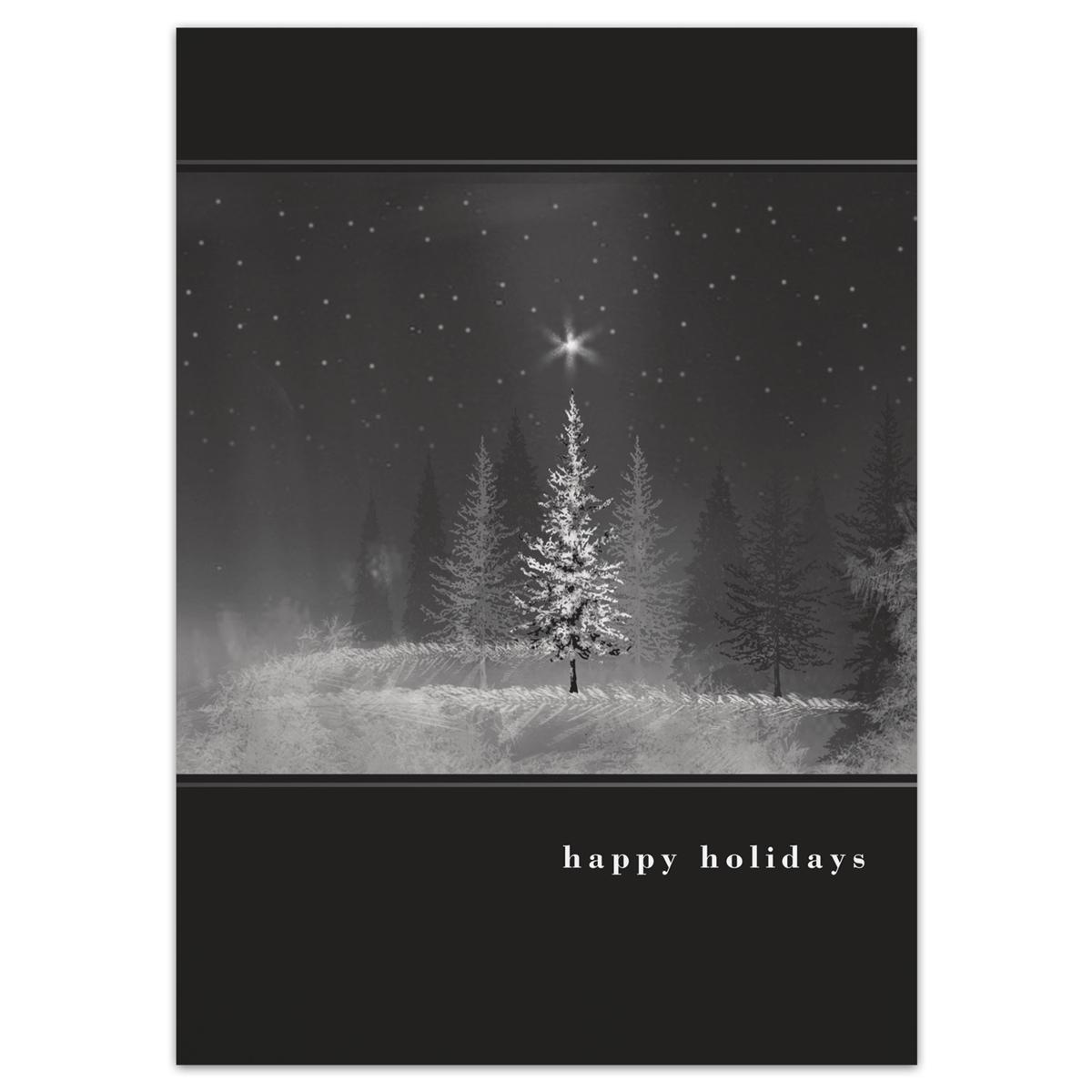 Starry Treeline Holiday Cards