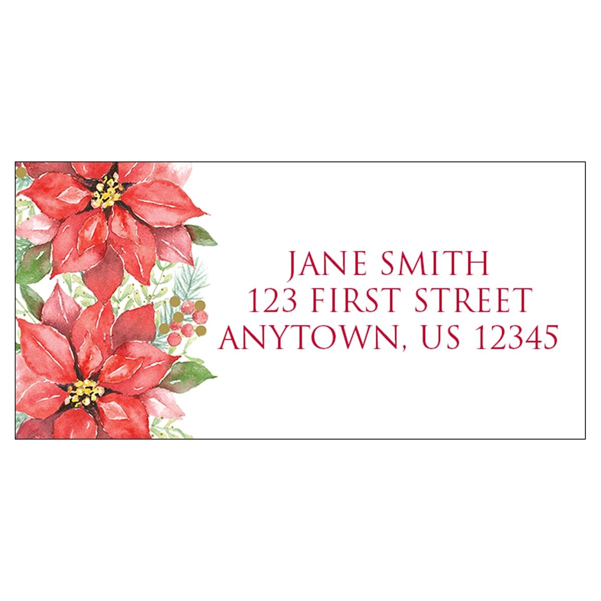 Poinsettia Wreath Address Label