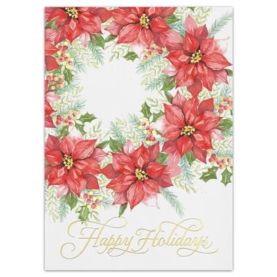 Poinsettia Wreath Holiday Cards