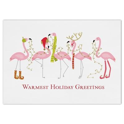 Fashionista Flamingos Holiday Cards