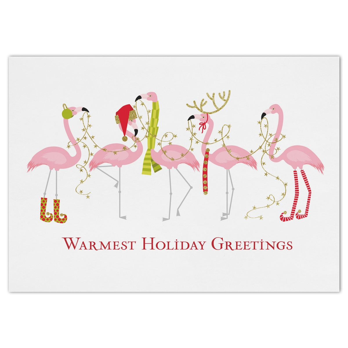 Fashionista Flamingos Holiday Cards