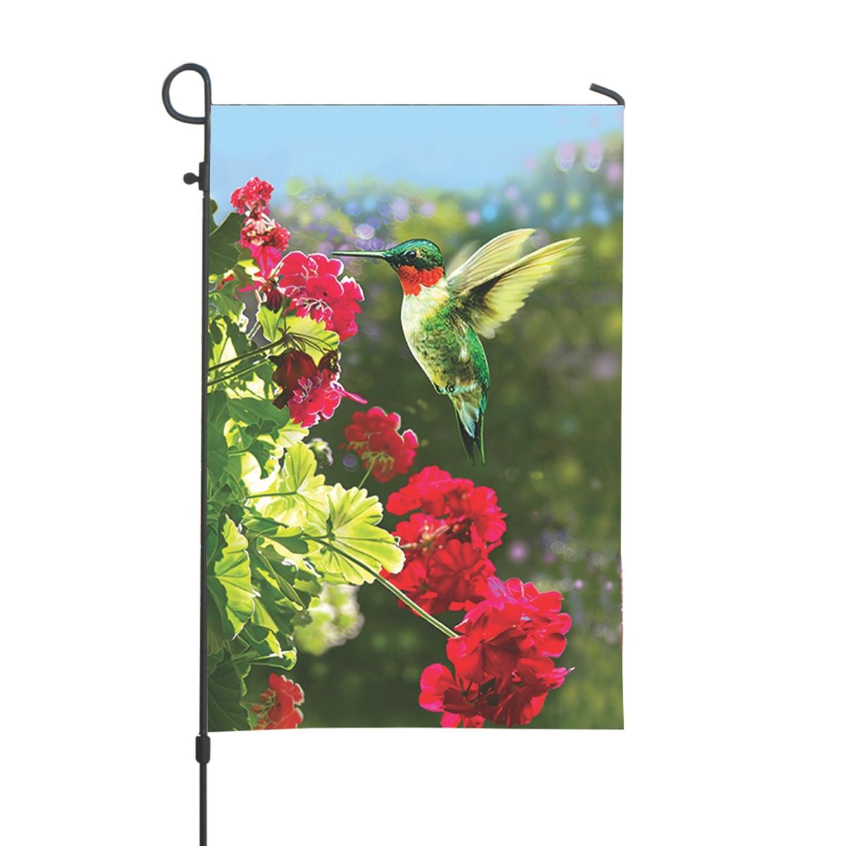 Hummingbird and Geraniums Garden Flag