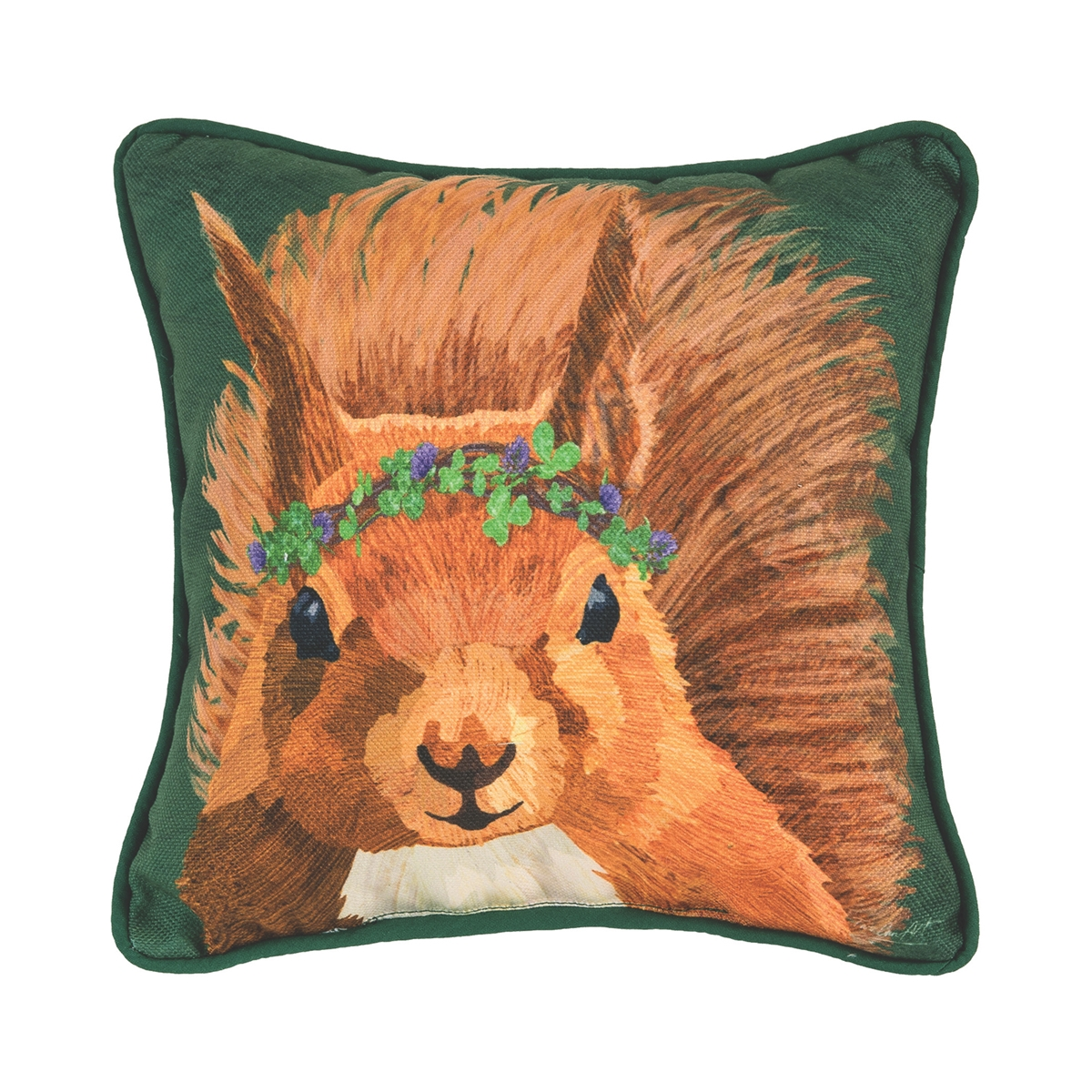 Squirrel and Clover Pillow