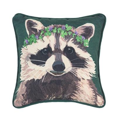 Raccoon and Clover Pillow