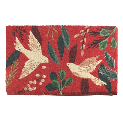 Doves and Holly Coir Mat