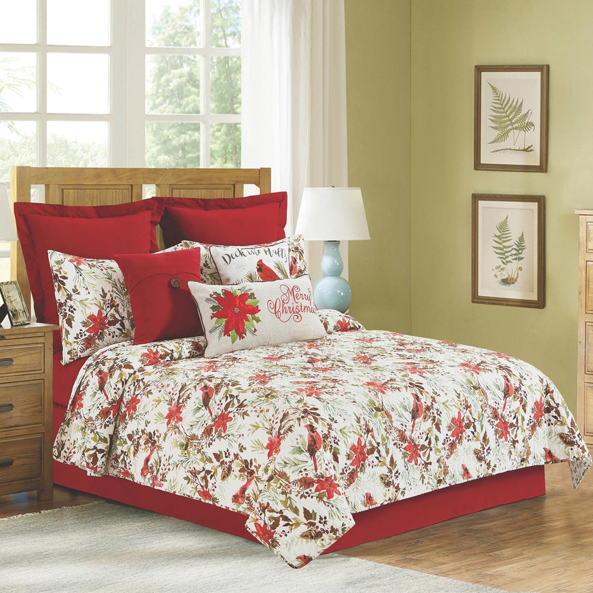 Winter Cardinals Quilted Bedding Set
