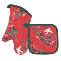 Doves and Holly Oven Mitt Set