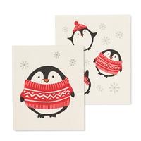 Holiday Penguin Swedish Dish Cloth Set
